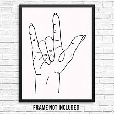 I Love You Sign Language Hand One Line Abstract ... - Amazon.com