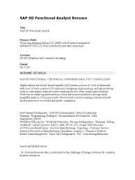 Sap Sd Functional Analyst Resume Business Process Sales