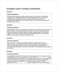Sample Resume Summary Statement 9 Examples In Word Pdf
