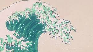 Wave Art Japanese Green Illust Classic Iphone Wallpaper Hd