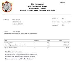 Printable Handyman Invoice Business Invoice Template Sample