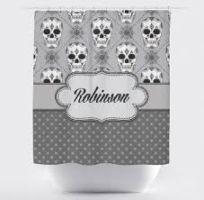 Skull Bedroom Curtains Personalized Skull Shower Curtain Ink And Rags