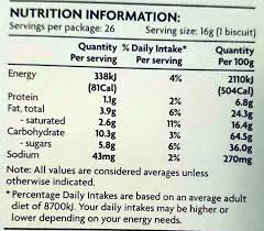 chocolate chip cookies nutrition facts