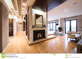 Luxury Apartment Interior With Fireplace Filed With Candles Stock - Luxury apartments interior