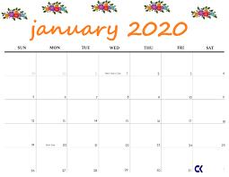 Printable January 2020 Calendar Calendar Kart
