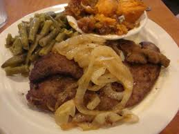 Liver and onions alogn with green beans and sweet potatoes ...
