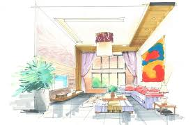 interior design hand drawings. Hand Draw Interior Design Villa Living Room Stair 3D Drawings