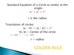 standard equation of a circle w center at the origin 3