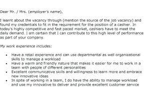 Cashier Cover Letter Sample Sample Cover Letter Cashier No