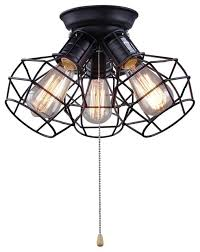wire cage ceiling lights 3 light pull string flush mount ceiling light