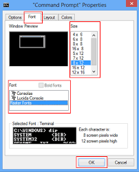 how to change text size how to change font font size and layout in cmd