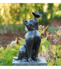 cat garden statue. Cat Garden Statue Fine Cast Bronze Sculpture And Butterfly Ornament
