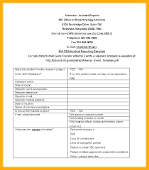 Serious Incident Report Template Non Injury Form Cute