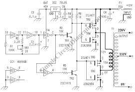 dc to ac inverter simple circuit diagram dc to ac inverter 12v to 110v 220v circuit schematic diagram