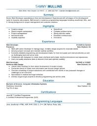 Resume Of Web Developer Resume For Your Job Application