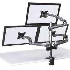 com cotytech triple monitor desk mount spring arm clamp base dark gray office s