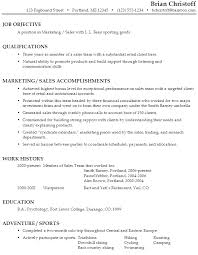 Sample Resume Marketing / Sales Sporting Goods Retailer