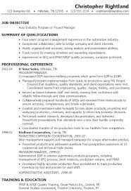 exresume program manager project manager auto industry project manager resume example it manager resume example