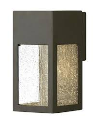 seedy glass lighting ll rook 1 led light small outdoor wall sconce in bronze with clear seedy glass