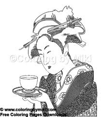 Japanese Women With Tea Coloring Page 1065 Coloring By Miki