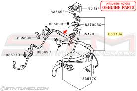 stm oem mitsubishi battery cable positive wiring harness these are year specific so please check your build date if you have a 2003 or 2004 as the cut off is in of 2003 for the next harness style