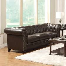 brown tufted sofa.  Tufted Coaster Furniture 504551 Roy Button Tufted Sofa Brown Bonded Leather In R