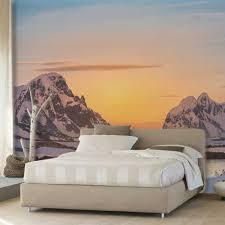 Besneeuwde Bergen Zonsondergang Livingroom Achtergrond 3d Behang