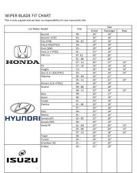 Wiper Blade Size Chart World Of Menu And Chart Regarding
