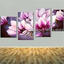 magnolia painting hand painted abstract pink magnolia oil painting on canvas four pieces magnolia flower wall