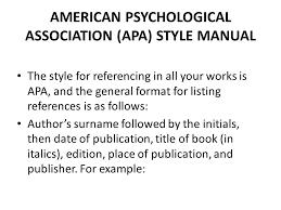 American Psychology Association Format American Psychological Association Apa Style Manual Ppt Download
