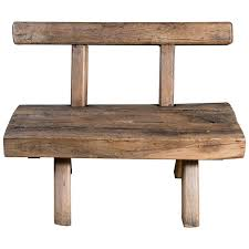 rustic wood bench. Delighful Bench Chunky Rustic Wooden Bench With Back Circa 1920 For Sale And Wood 1stDibs