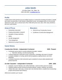 Skilled Trades Resume Examples Independent Contractor Resume Example Construction Labor Trades