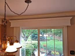 wooden valance with vertical blinds for patio door