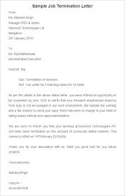 Employee Termination Templates Sample Of Job Termination Letter Scrumps