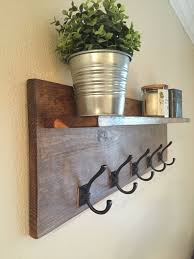Wall Coat Rack With Hooks Coat Rack with Floating Shelf Wall mounted coat rack Rustic walls 4