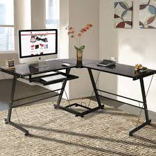 L-Shape Computer Desk PC Glass Laptop Table Workstation Corner Home Office  - Black