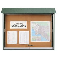 outdoor enclosed bulletin boards with sliding door