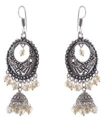 saadgi bollywood style german silver chandeliers earrings for wedding festival