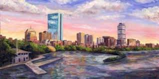 boston skyline back bay painting