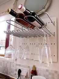 wine rack storage with glasses holder