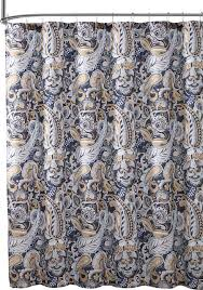 elegant navy blue beige fabric shower curtain large fl paisley print design mediterranean shower curtains by curtain call