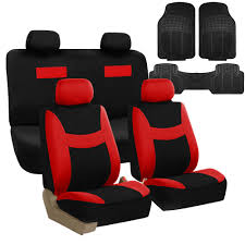 auto seat covers combo set w black floor mats car suv van red black 0