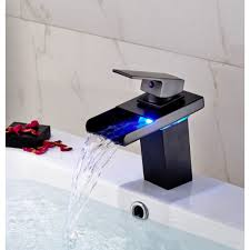 led waterfall deck mount bathroom sink faucet oil rubbed bronze rh junoshowers com oil rubbed bronze waterfall tub faucet wall mount oil rubbed bronze