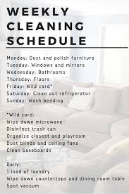 Weekly Household Cleaning Schedule Easy Cleaning Schedule The Fitnessista