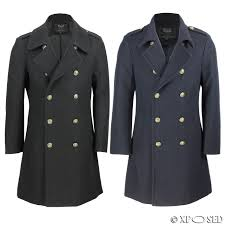mens vintage military style wool mix double ted jacket overcoat black navy