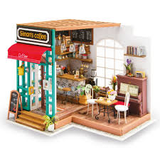 building doll furniture. Robotime DIY Simon\u0027s Coffee With Furnitures Children Adult Miniature Wooden Doll House Model Building Kits Dollhouse Furniture