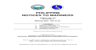 Philippine Notices To Mariners Namria The To Mariners