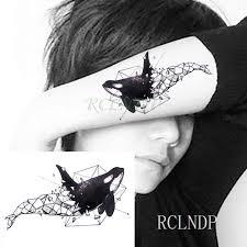 водостойкая временная татуировка морская волна кит волк орел тату наклейки