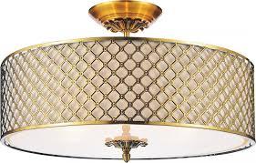 6 light french gold drum shade flush mount
