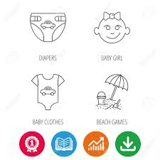 Newborn Baby Growth Chart Newborn Clothes Diapers And Baby Girl Icons Beach Games Linear